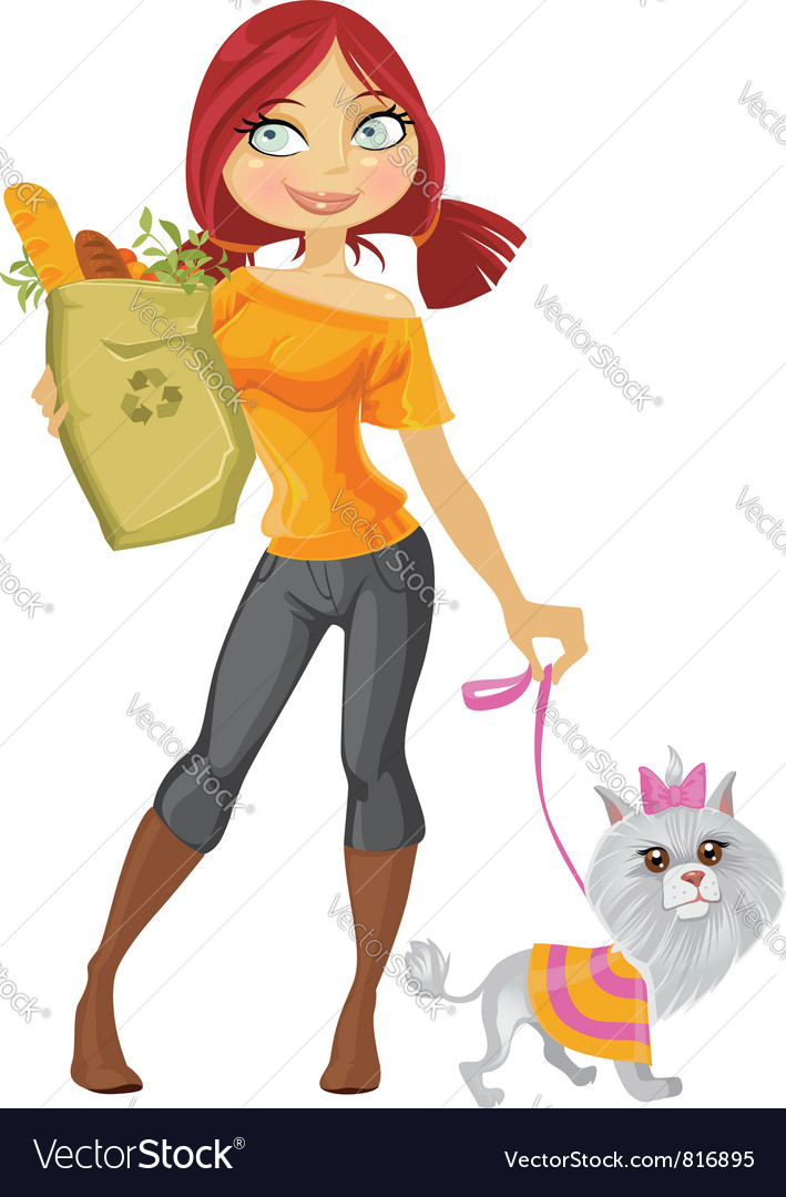 Girl with dog vector | Price: 3 Credit (USD $3)