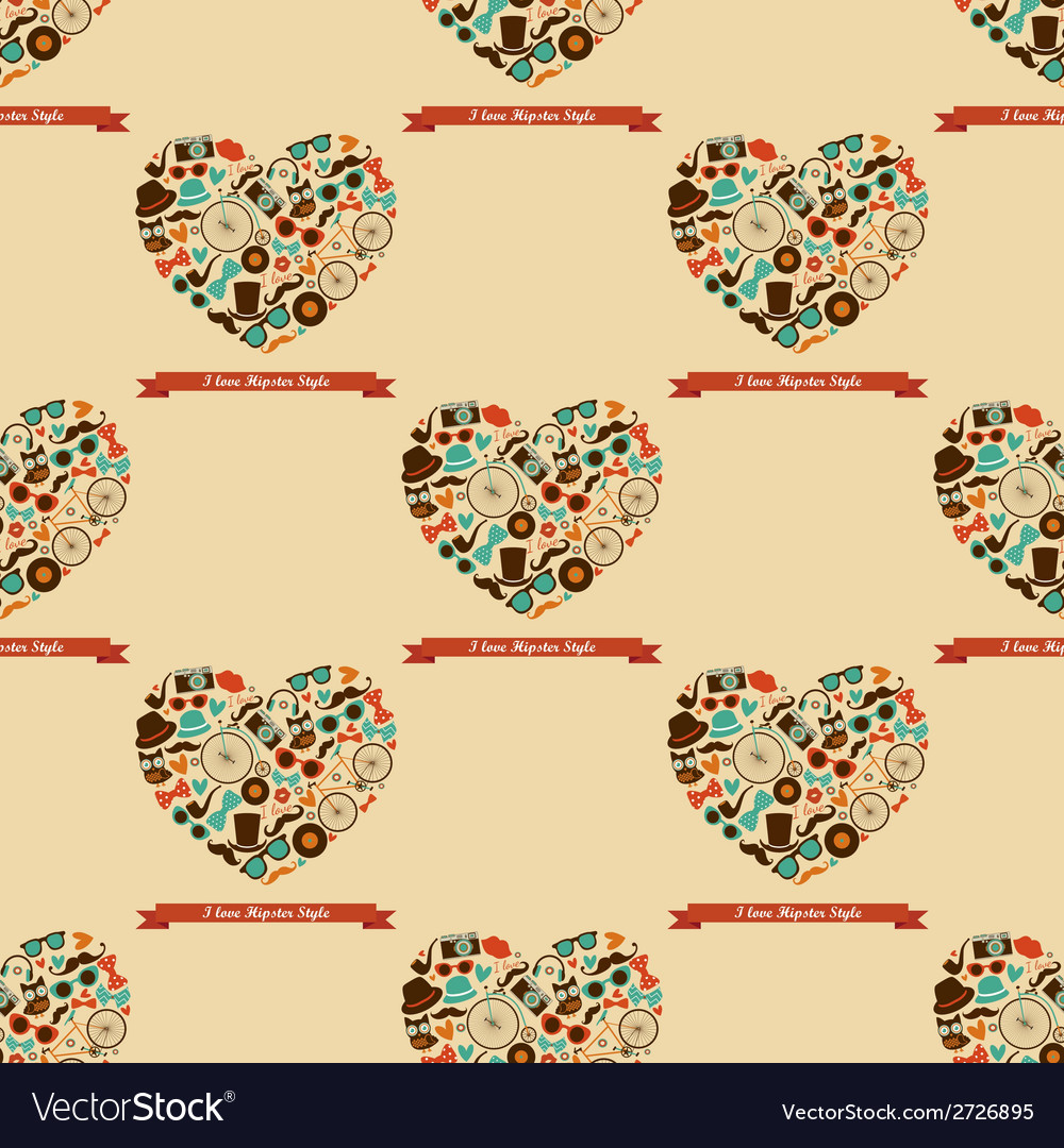 Hipster love colorful seamless pattern vector | Price: 1 Credit (USD $1)