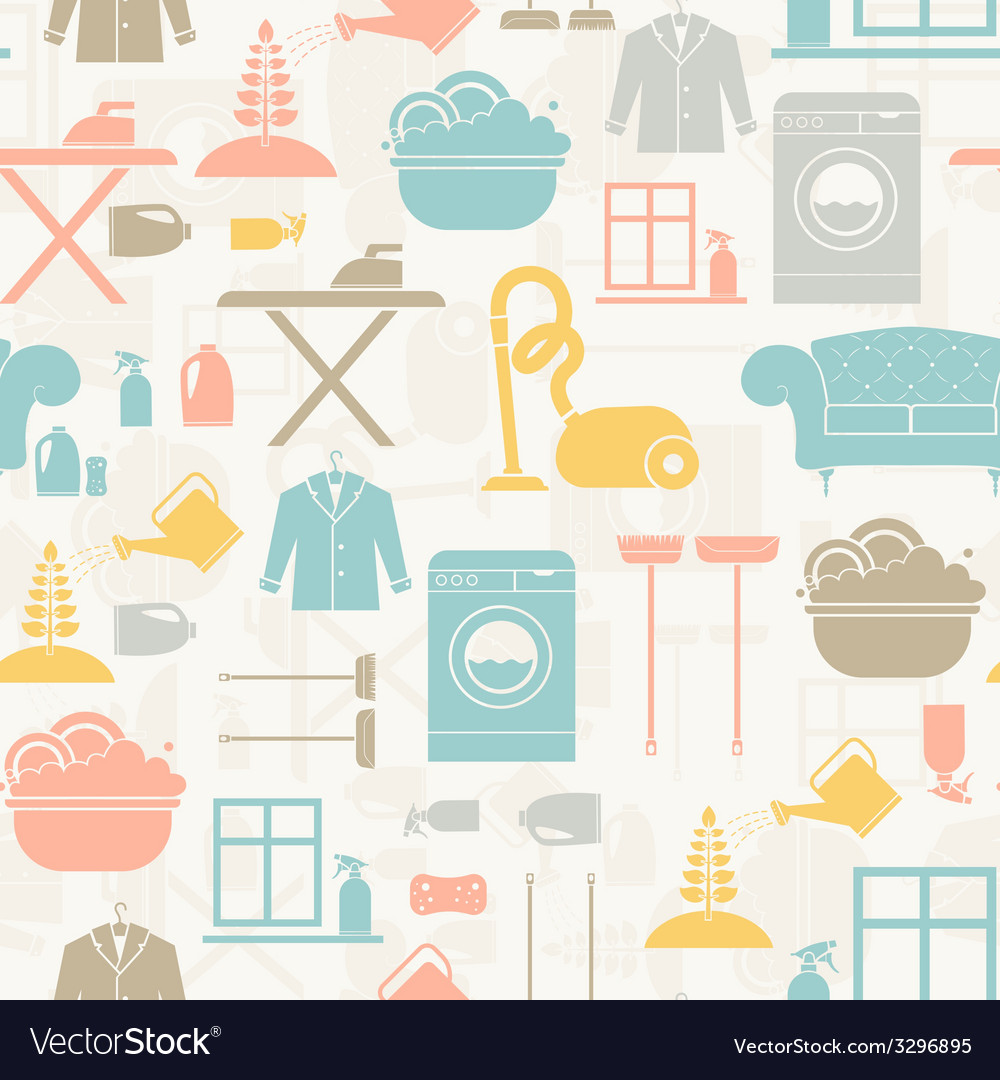 Housekeeping seamless pattern vector | Price: 1 Credit (USD $1)