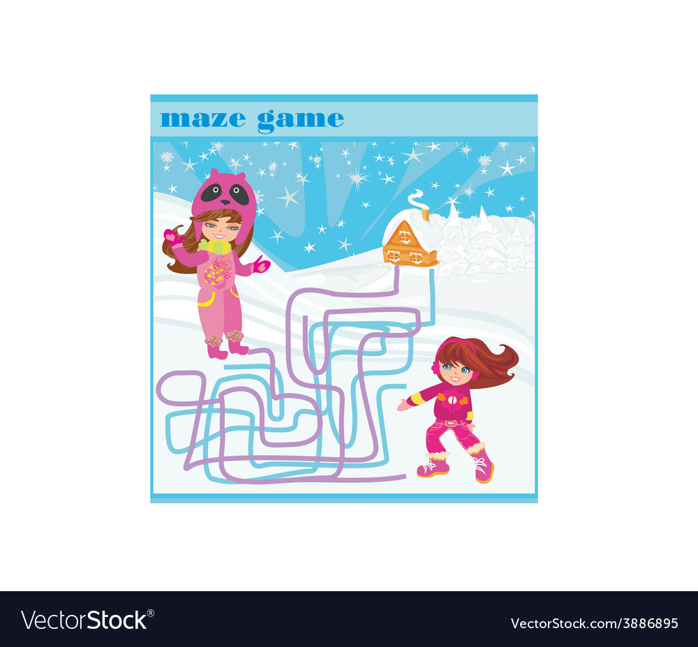 Maze game - fun in the winter day vector | Price: 1 Credit (USD $1)