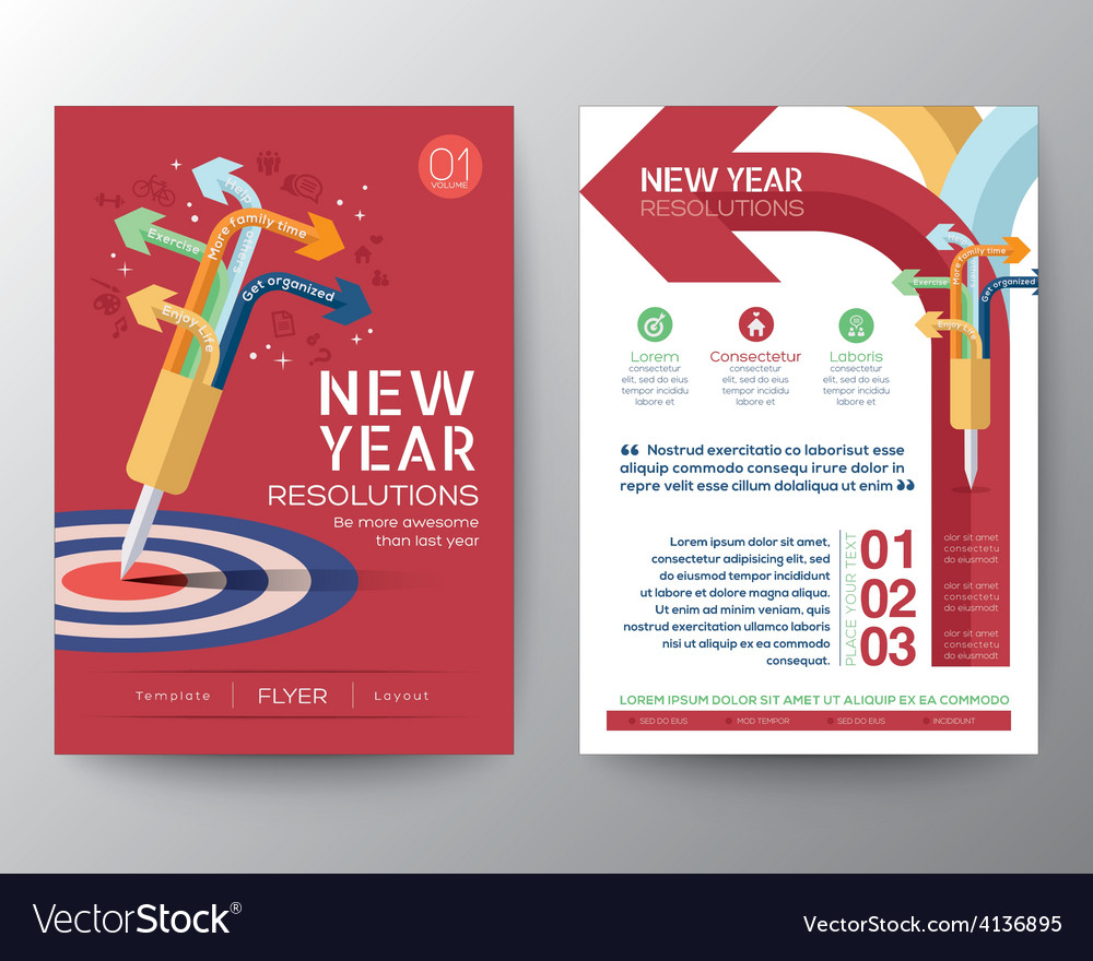 New year resolutions target concept vector | Price: 1 Credit (USD $1)