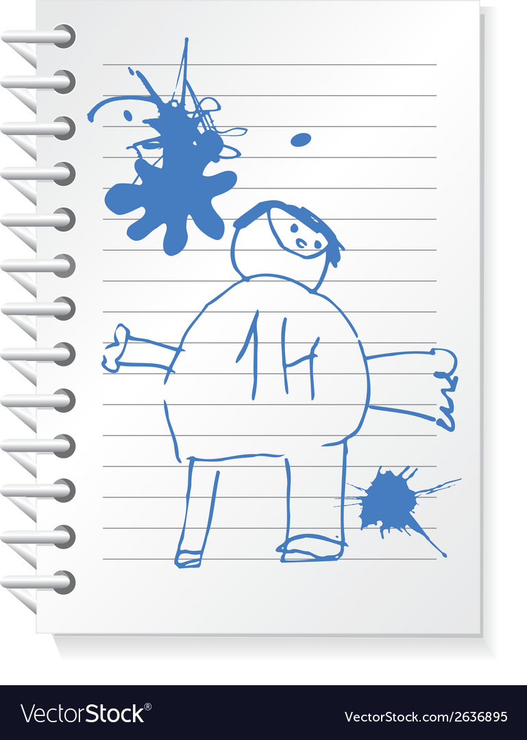 Notepad with children drawing vector | Price: 1 Credit (USD $1)