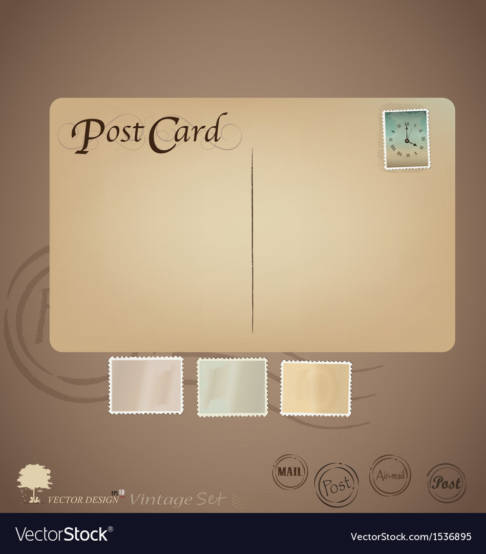 Set vintage postcard designs and stamps vector | Price: 1 Credit (USD $1)
