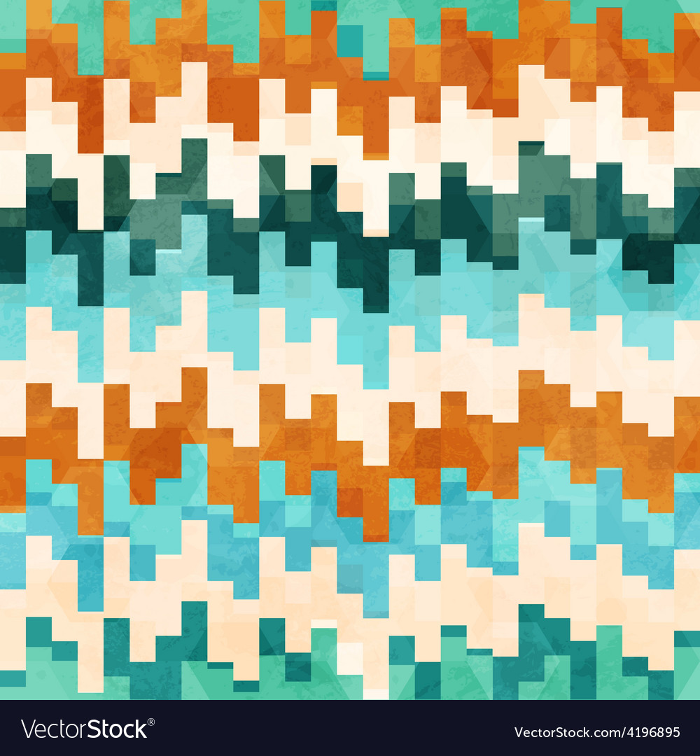 Vintage pixel seamless pattern with grunge effect vector | Price: 1 Credit (USD $1)