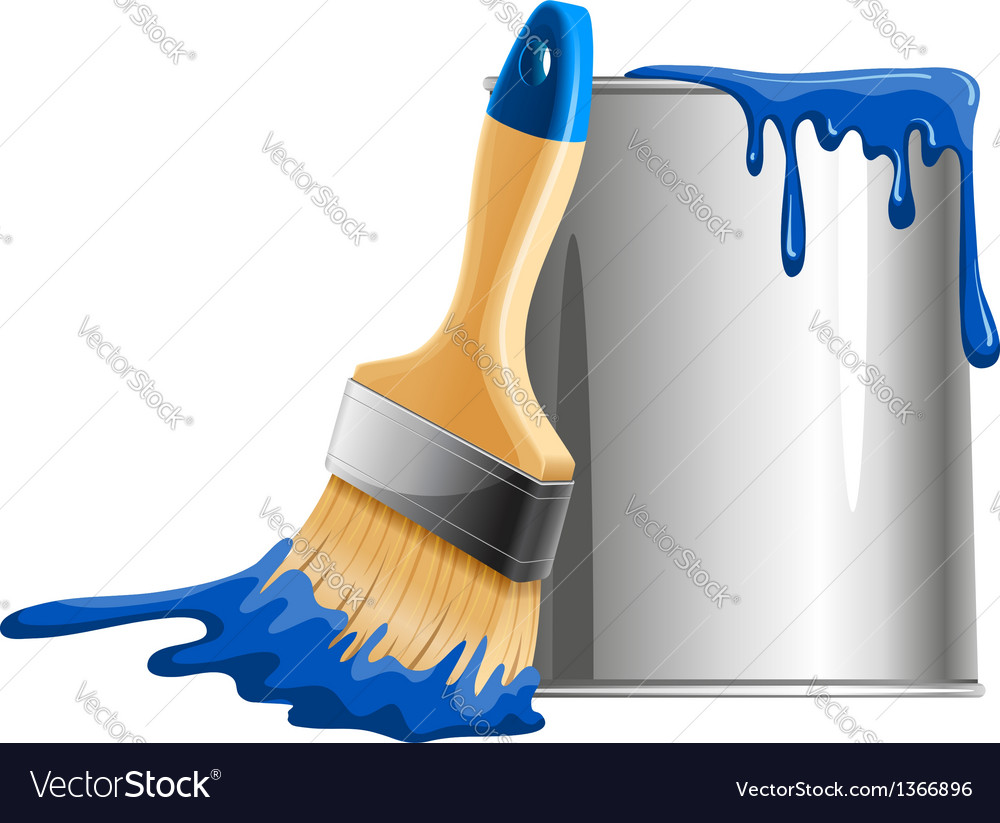 Bucket of paint and brush vector | Price: 1 Credit (USD $1)