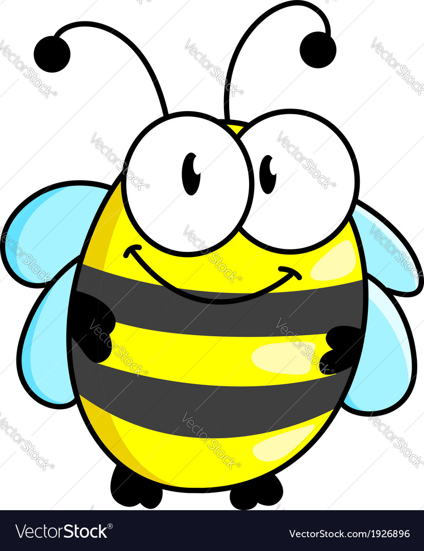 Cartoon striped little bee vector | Price: 1 Credit (USD $1)
