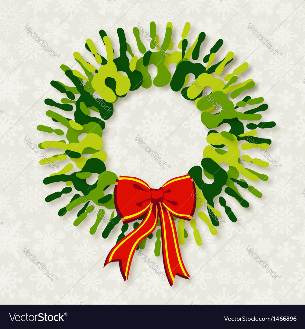Diversity green hands christmas wreath vector | Price: 1 Credit (USD $1)