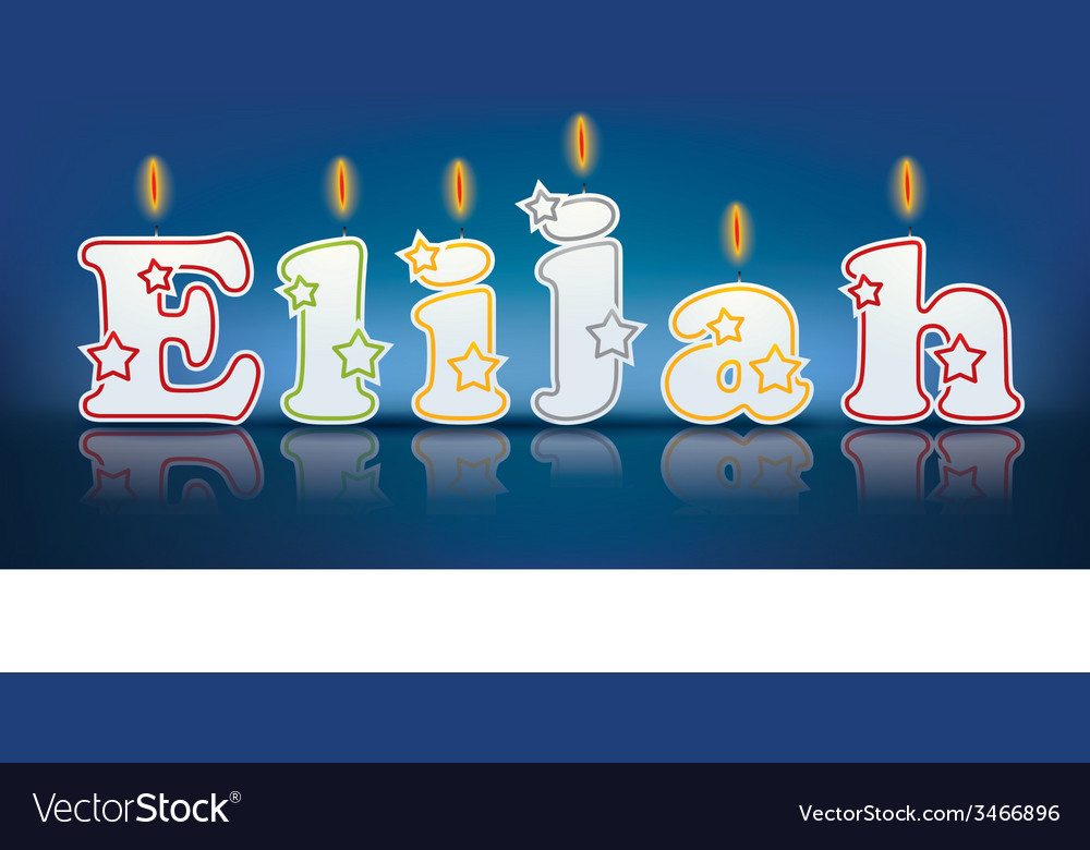 Elijah written with burning candles vector | Price: 1 Credit (USD $1)