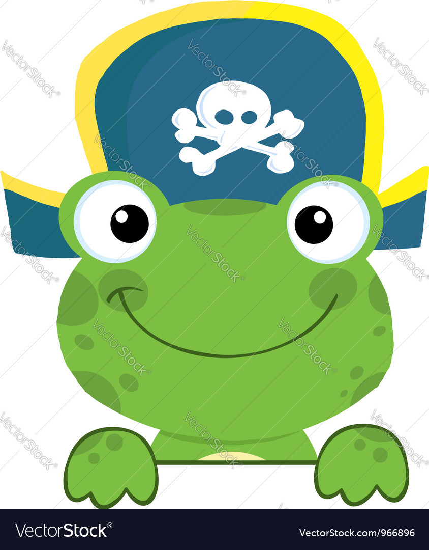 Frog with pirate hat over a sign board vector | Price: 1 Credit (USD $1)