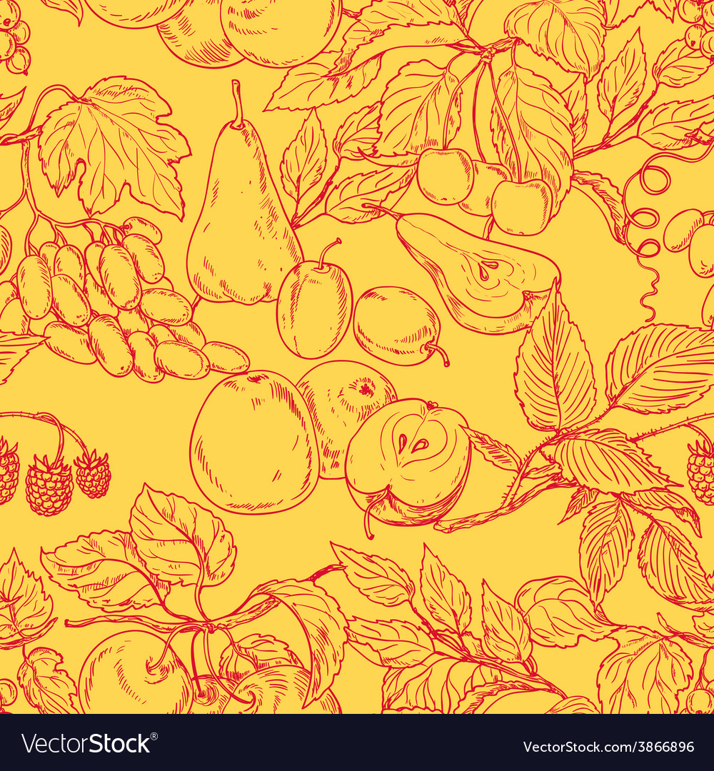 Fruit outline pattern vector | Price: 1 Credit (USD $1)