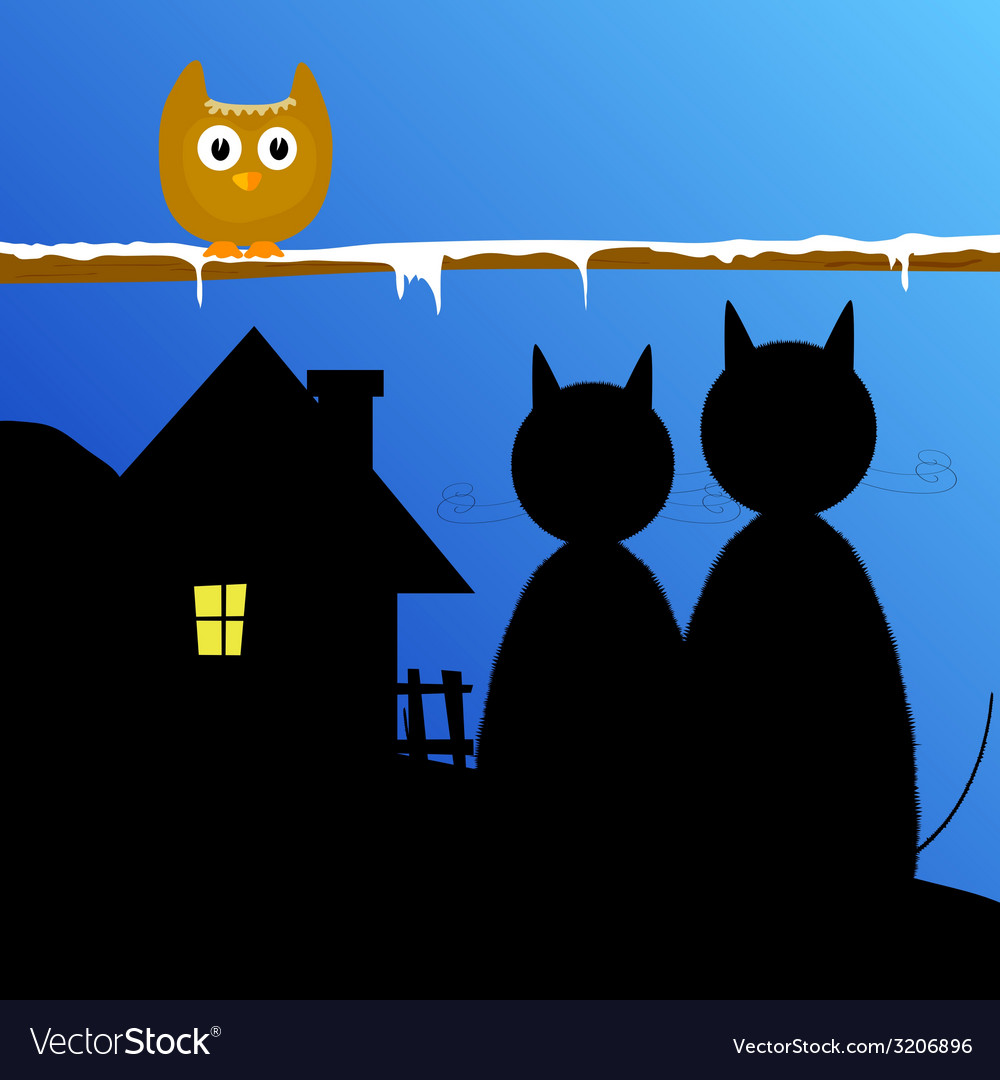 Funny animal with cat and house vector | Price: 1 Credit (USD $1)