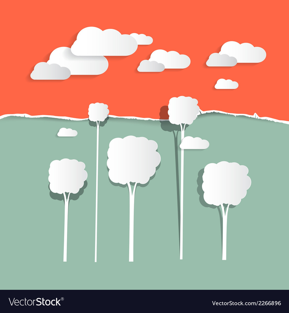 Paper clouds and trees - nature vector | Price: 1 Credit (USD $1)