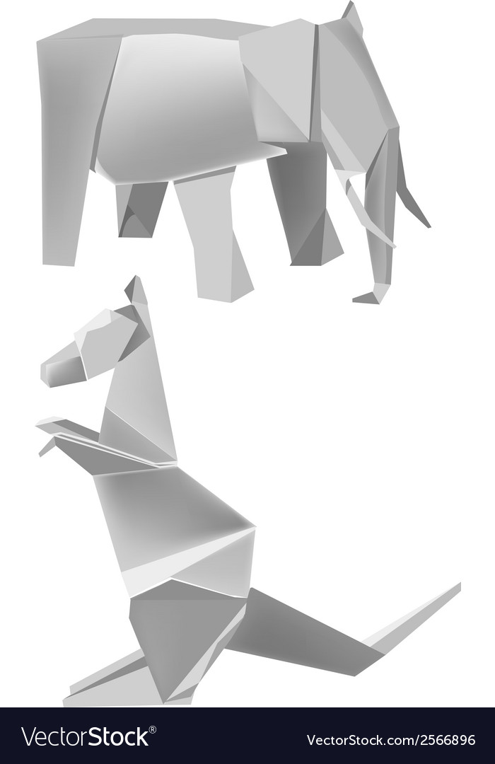 Paper elephant kangaroo vector | Price: 1 Credit (USD $1)