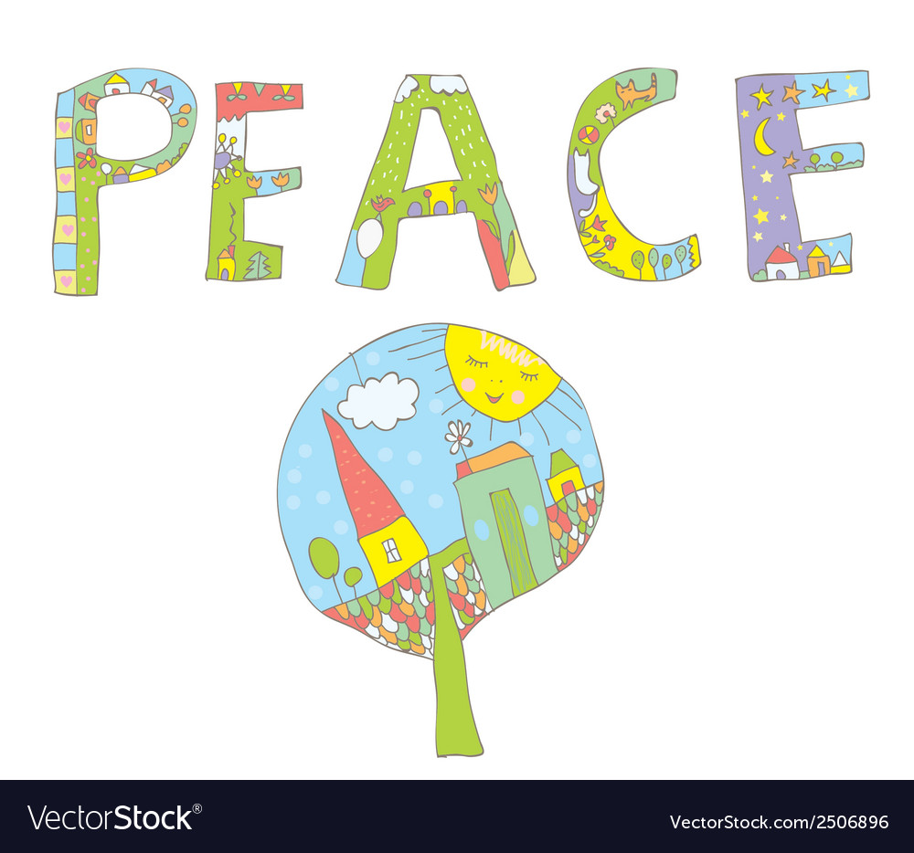 Peace word design with tree flowers birds vector | Price: 1 Credit (USD $1)