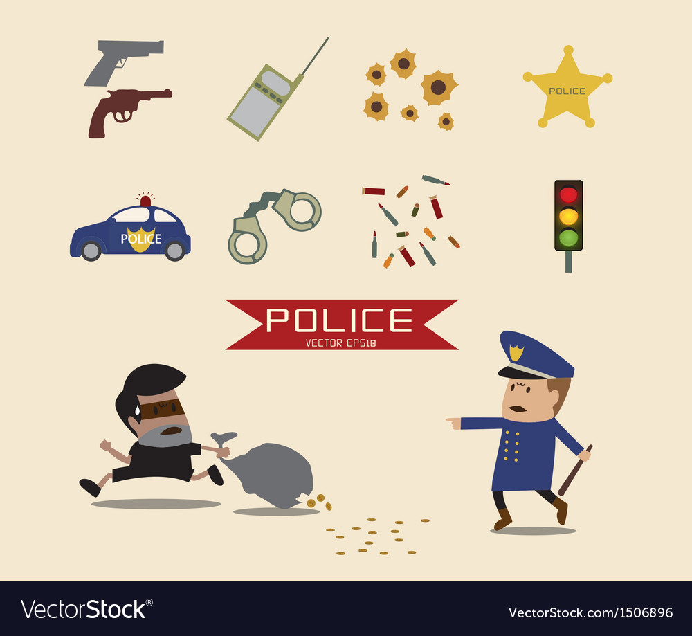 Set of police element vector | Price: 3 Credit (USD $3)