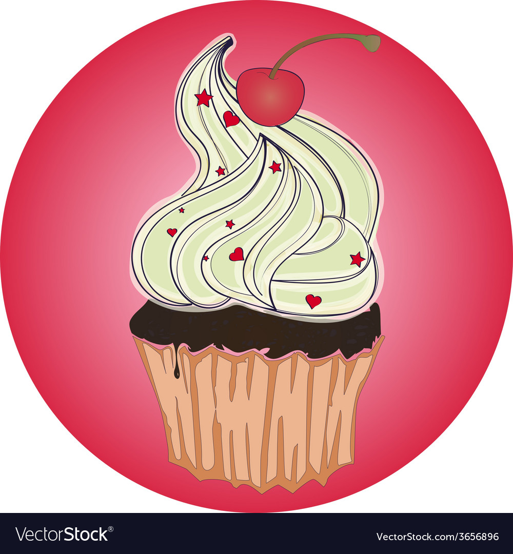 Tasty cupcake with cherry on pink background vector   Price: 1 Credit (USD $1)