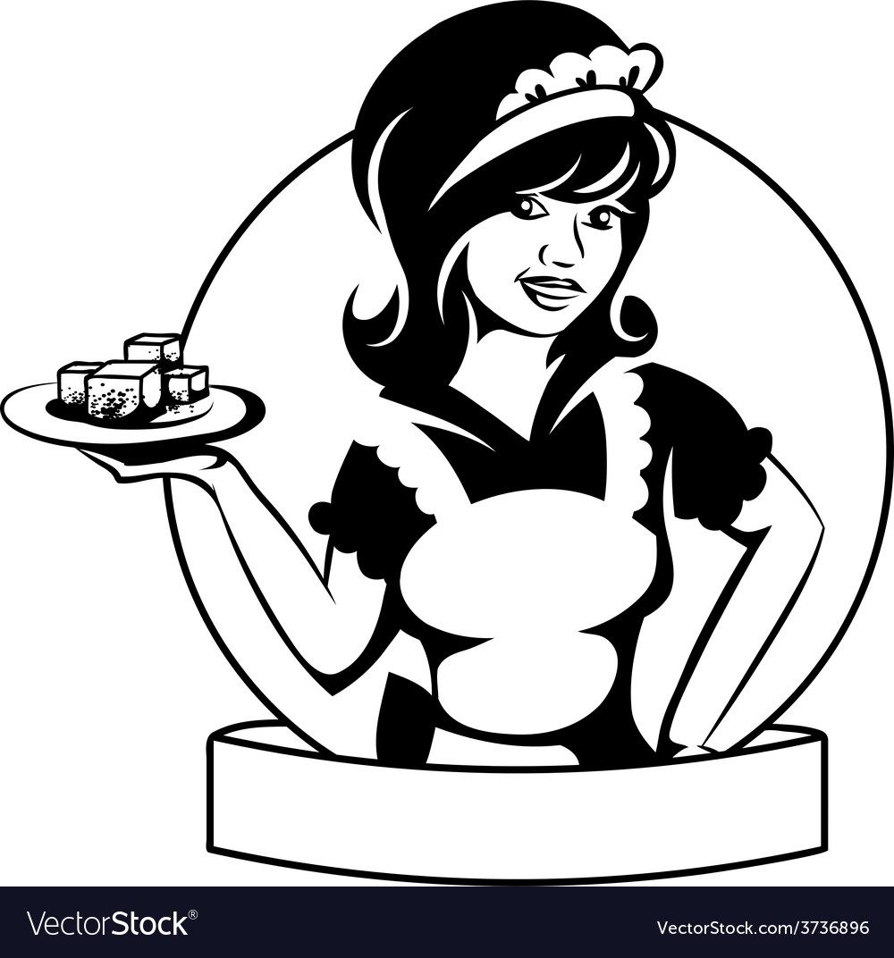 Waitress with a dish vector | Price: 1 Credit (USD $1)