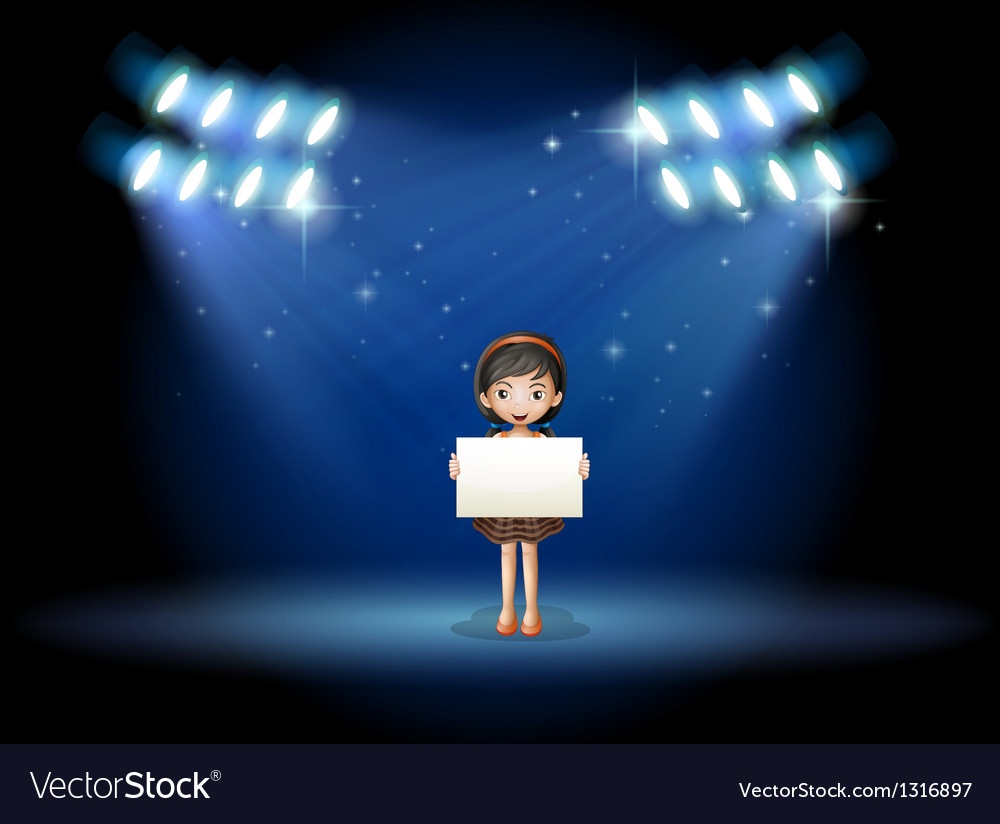 A girl holding an empty signage at the stage with vector | Price: 1 Credit (USD $1)