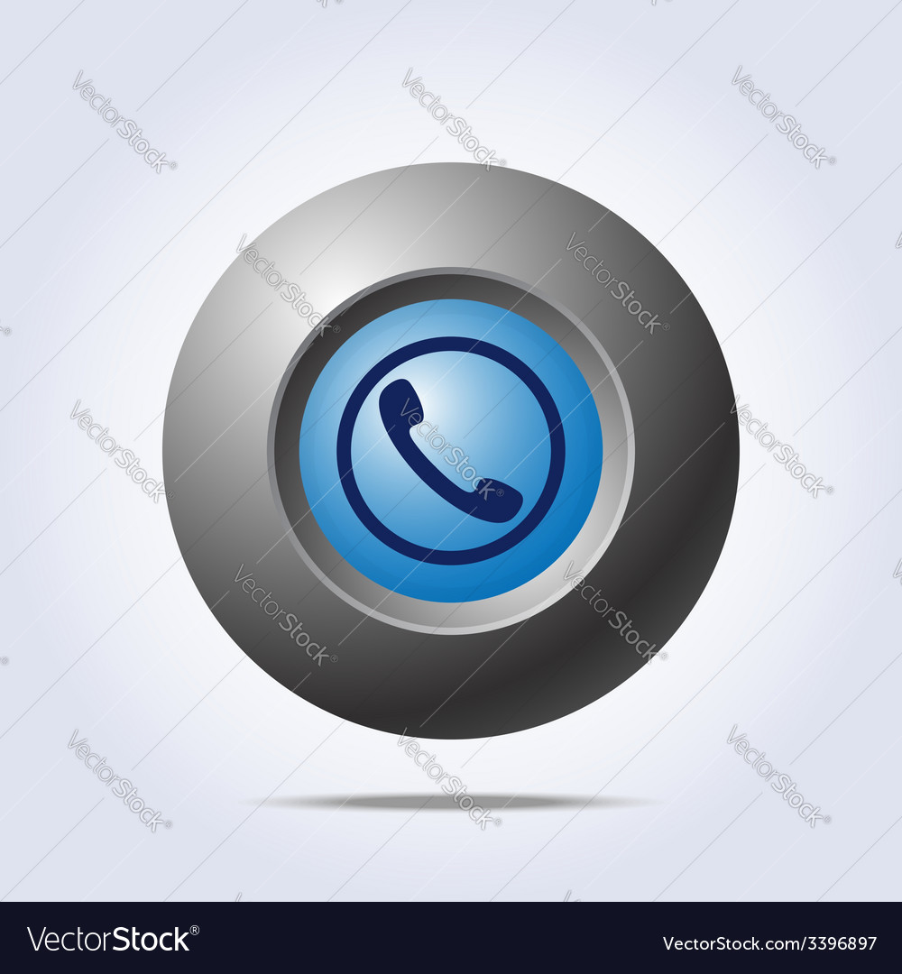 Blue button with phone handset icon vector | Price: 1 Credit (USD $1)