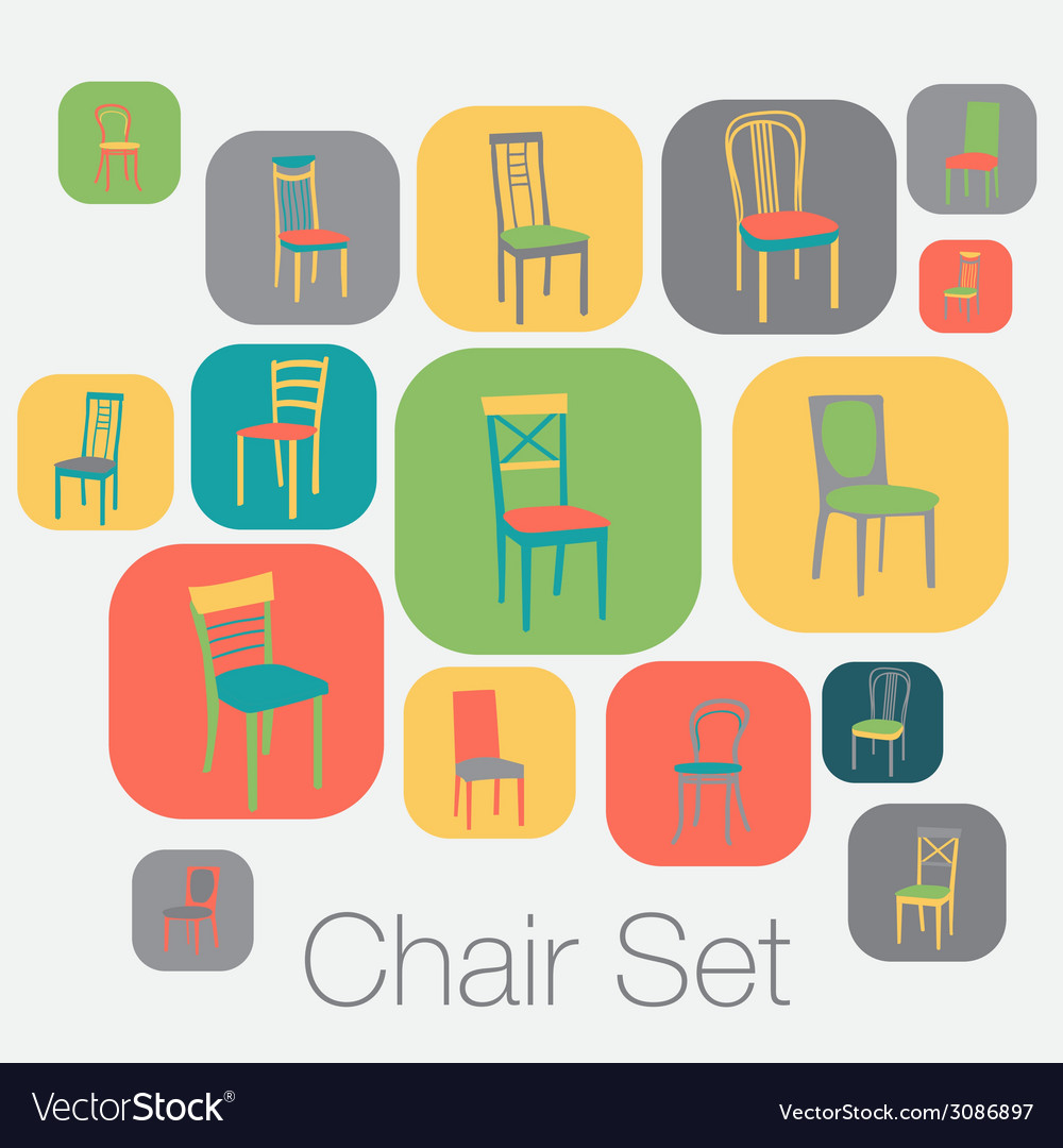Chair icon set symbol furniture vector | Price: 1 Credit (USD $1)