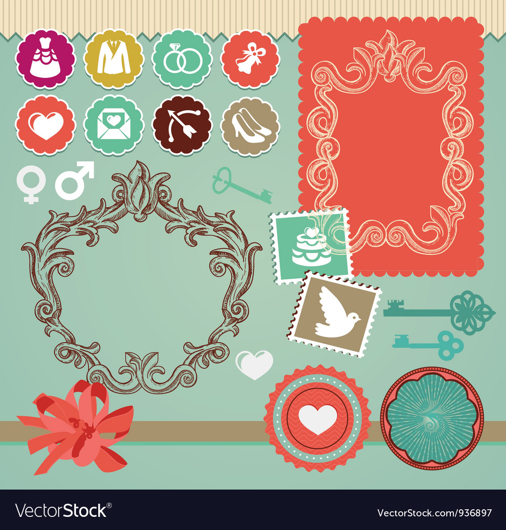 Collection of vintage design elements vector   Price: 1 Credit (USD $1)