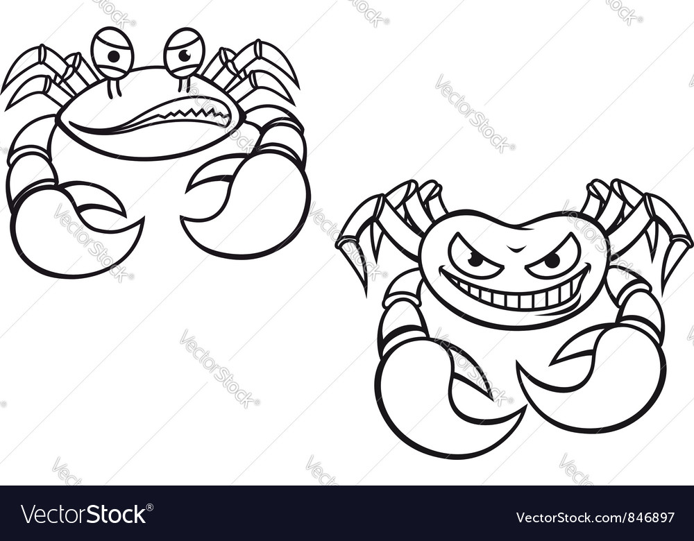 Danger cartoon crabs vector | Price: 1 Credit (USD $1)