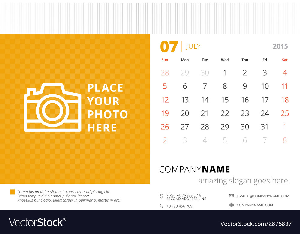 Desk calendar 2015 template week starts sunday vector | Price: 1 Credit (USD $1)