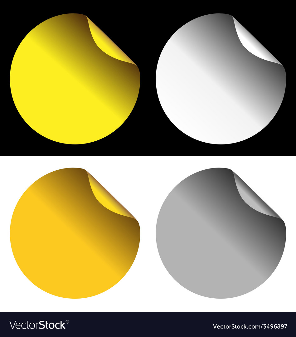 Golden and silver stickers on white and black vector | Price: 1 Credit (USD $1)