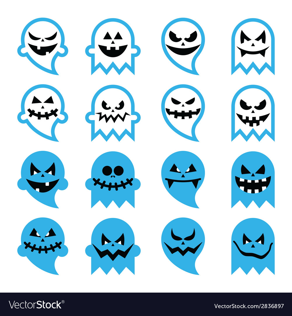 Halloween scary ghost spirit icons set vector | Price: 1 Credit (USD $1)