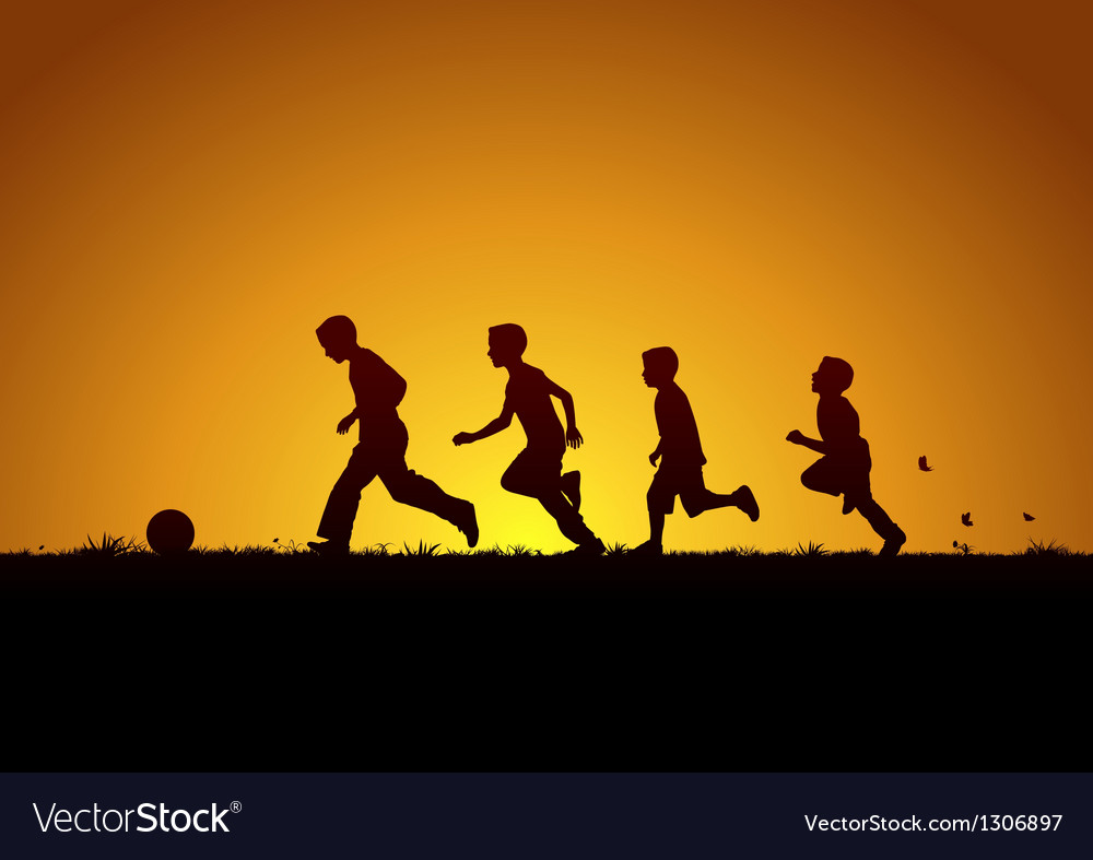 Running boys with the ball vector | Price: 1 Credit (USD $1)