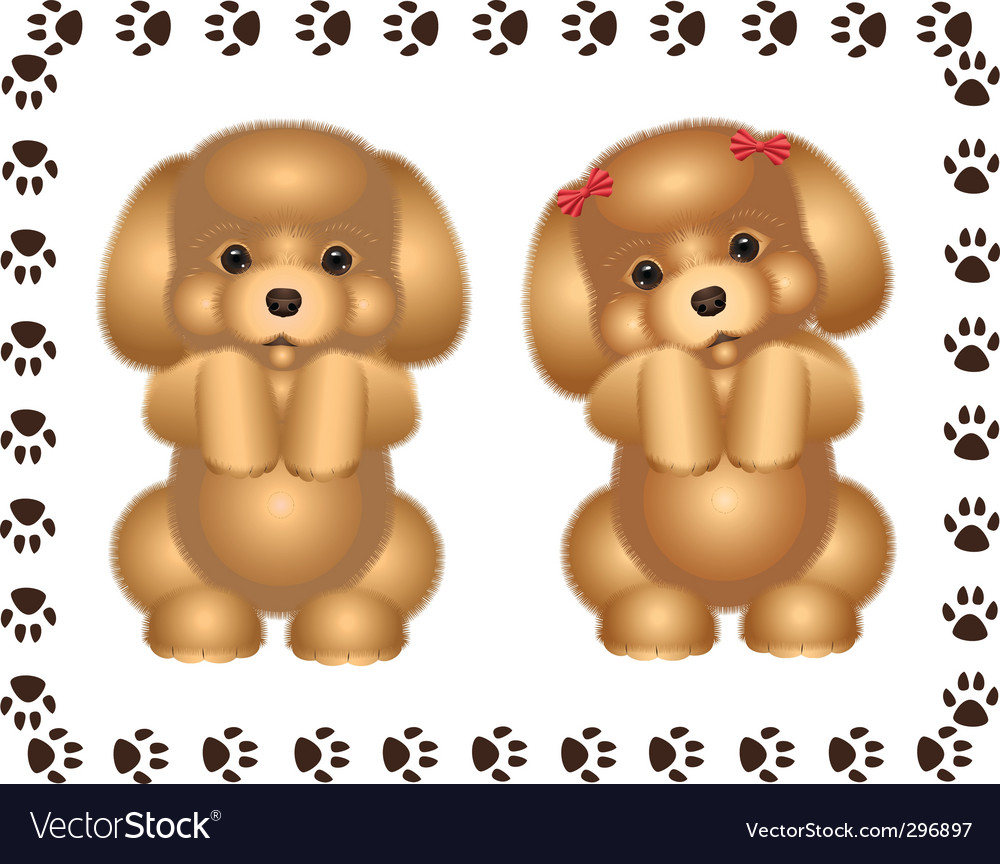 Two puppies vector | Price: 3 Credit (USD $3)