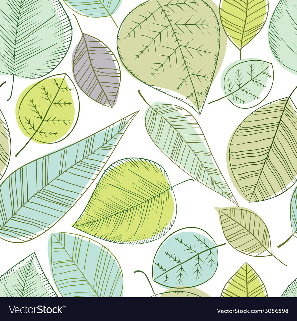 Beautiful spring leaves seamless pattern vector | Price: 1 Credit (USD $1)