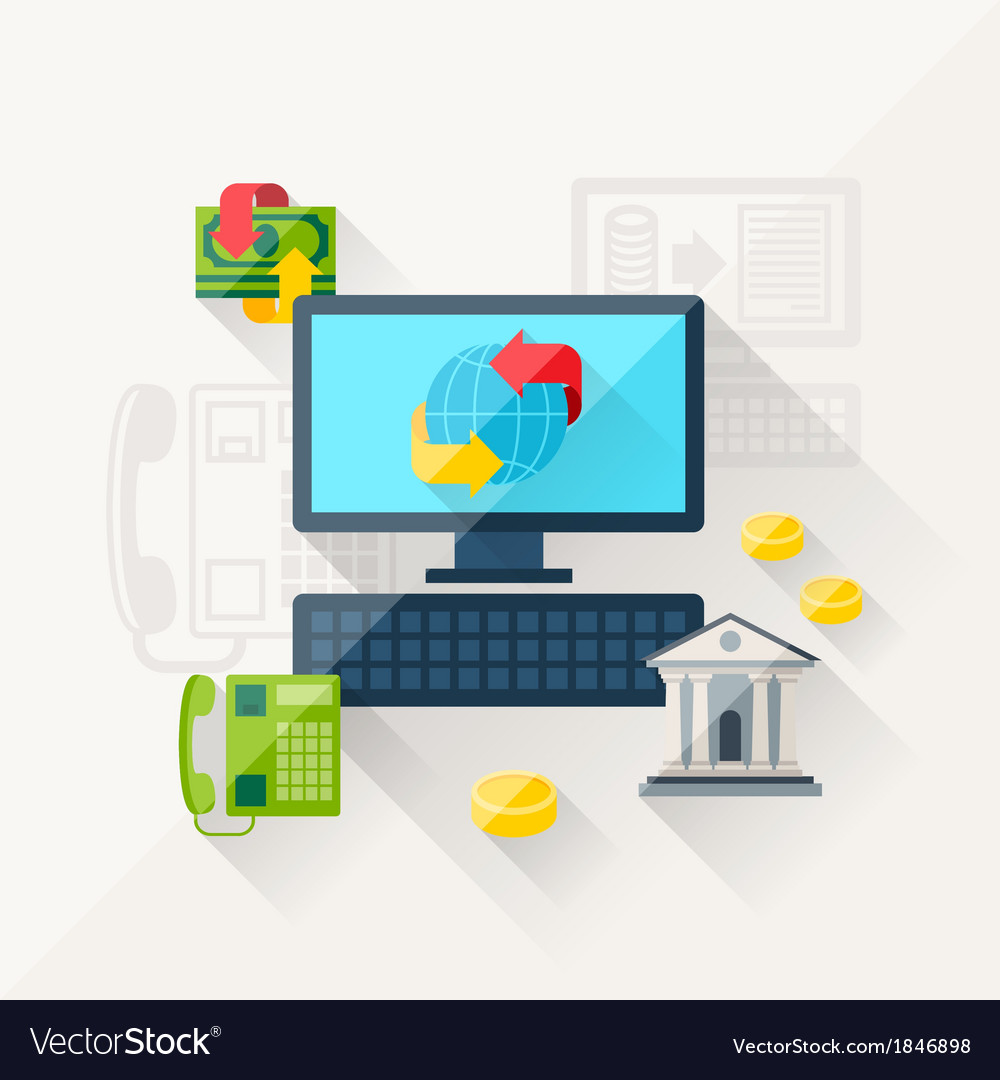 Concept of banking online in flat design style vector | Price: 1 Credit (USD $1)