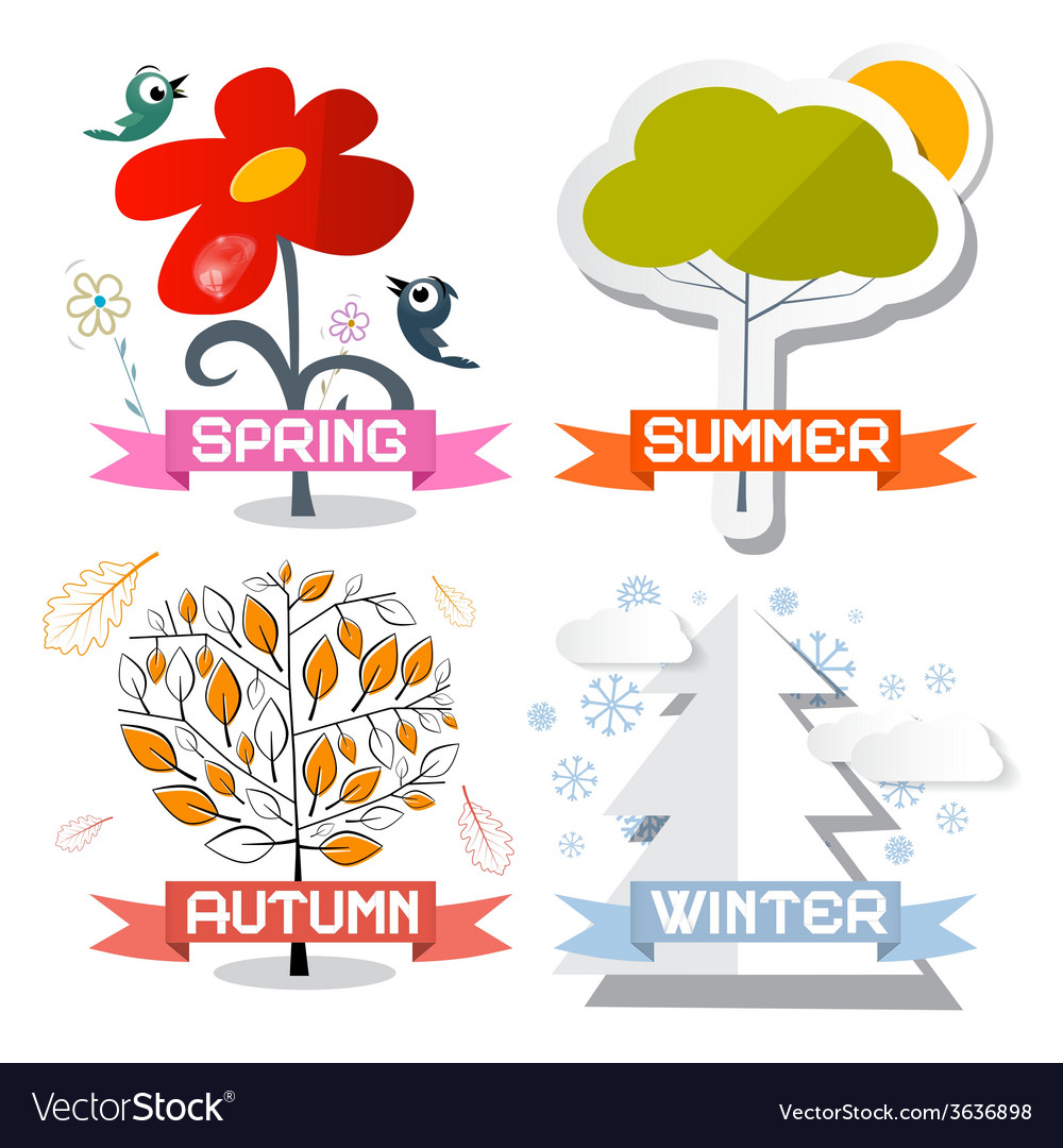 Four seasons symbols isolated on white background vector | Price: 1 Credit (USD $1)