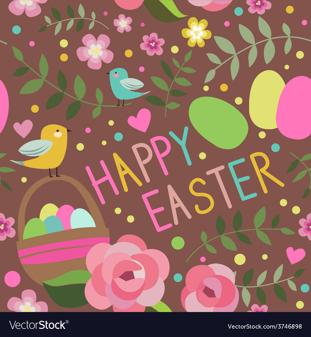 Happy easter seamless print with backet vector   Price: 1 Credit (USD $1)