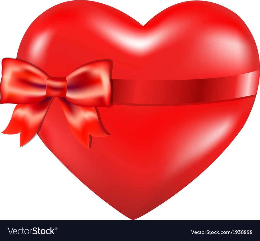 Red heart with red bow vector | Price: 1 Credit (USD $1)