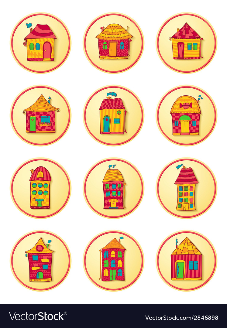 Round icons with cute cartoon-style houses vector | Price: 1 Credit (USD $1)