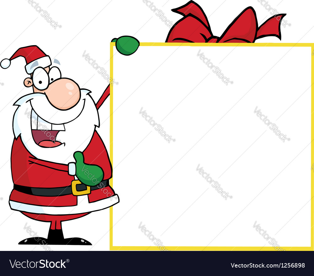 Santa with big gift banner vector