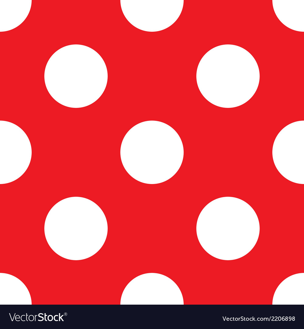 Tile pattern white polka dots red background vector | Price: 1 Credit (USD $1)