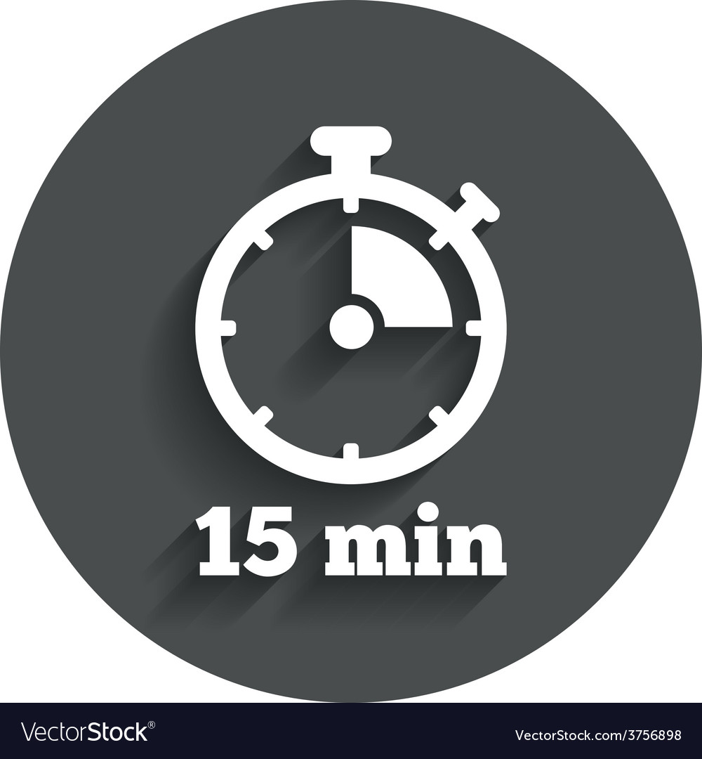 Timer sign icon 15 minutes stopwatch symbol vector | Price: 1 Credit (USD $1)