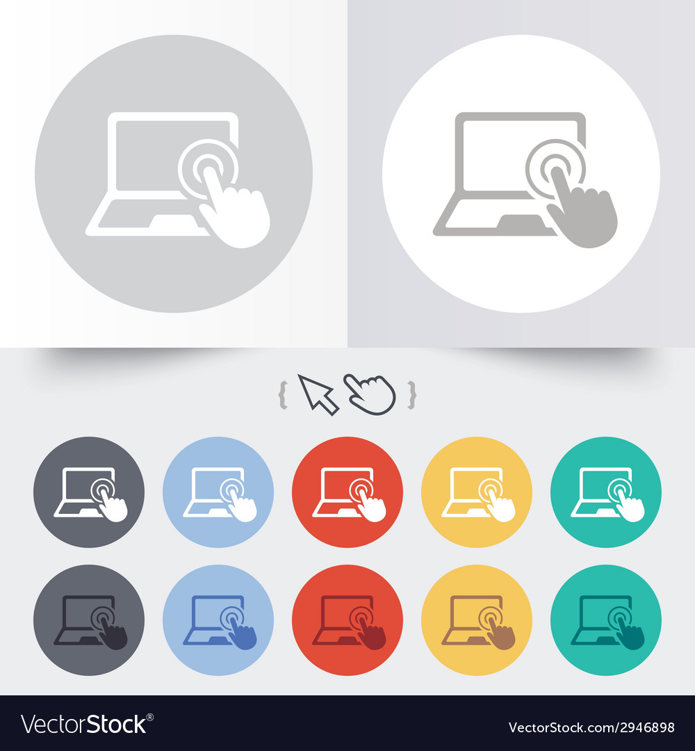 Touch screen laptop sign hand pointer symbol vector   Price: 1 Credit (USD $1)