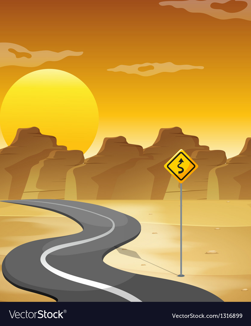 A curved road in the desert vector   Price: 1 Credit (USD $1)