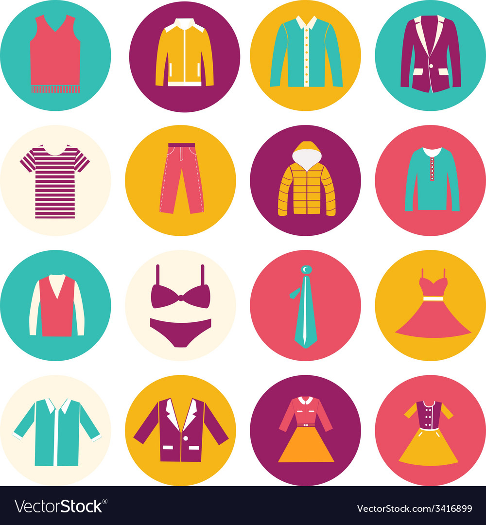 Clothes flat icons - vector | Price: 1 Credit (USD $1)