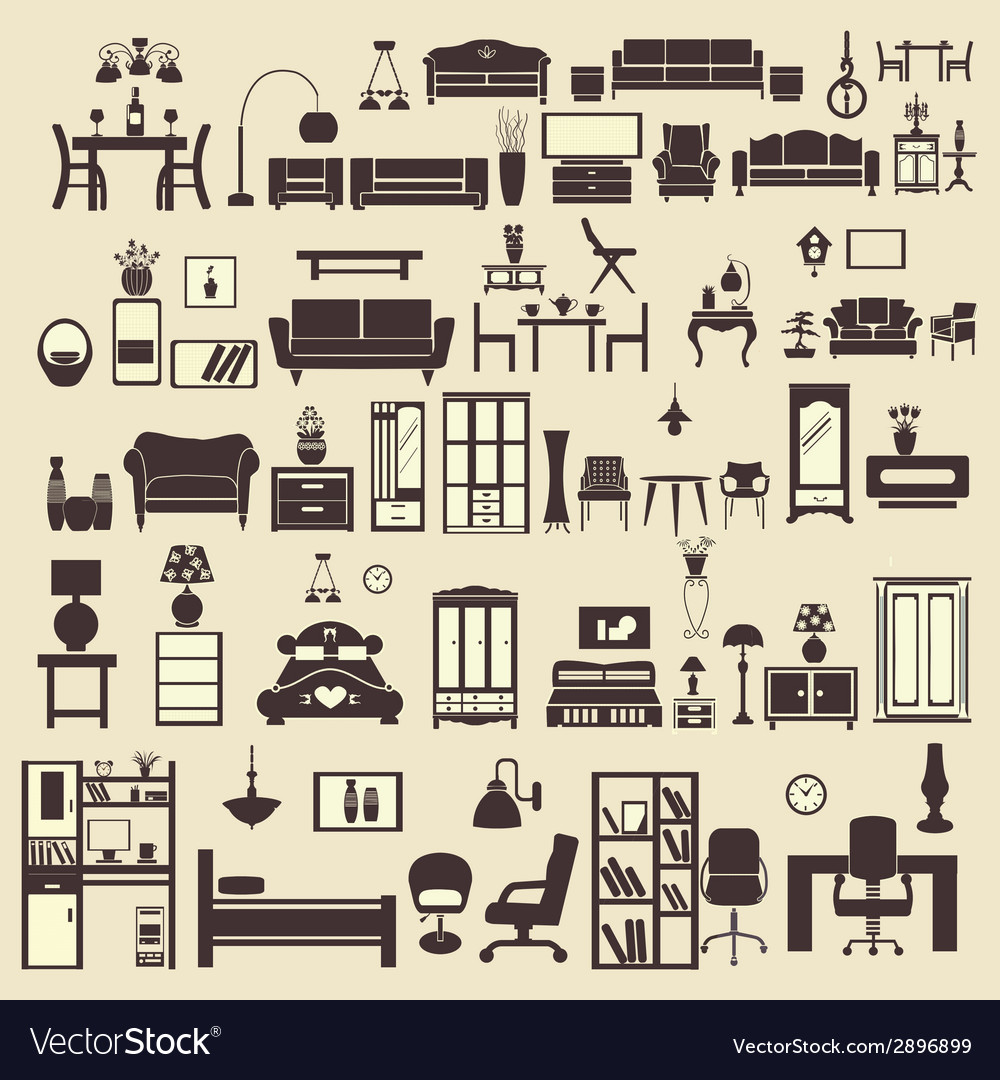 Creative design furniture icons set interior- illu vector | Price: 1 Credit (USD $1)