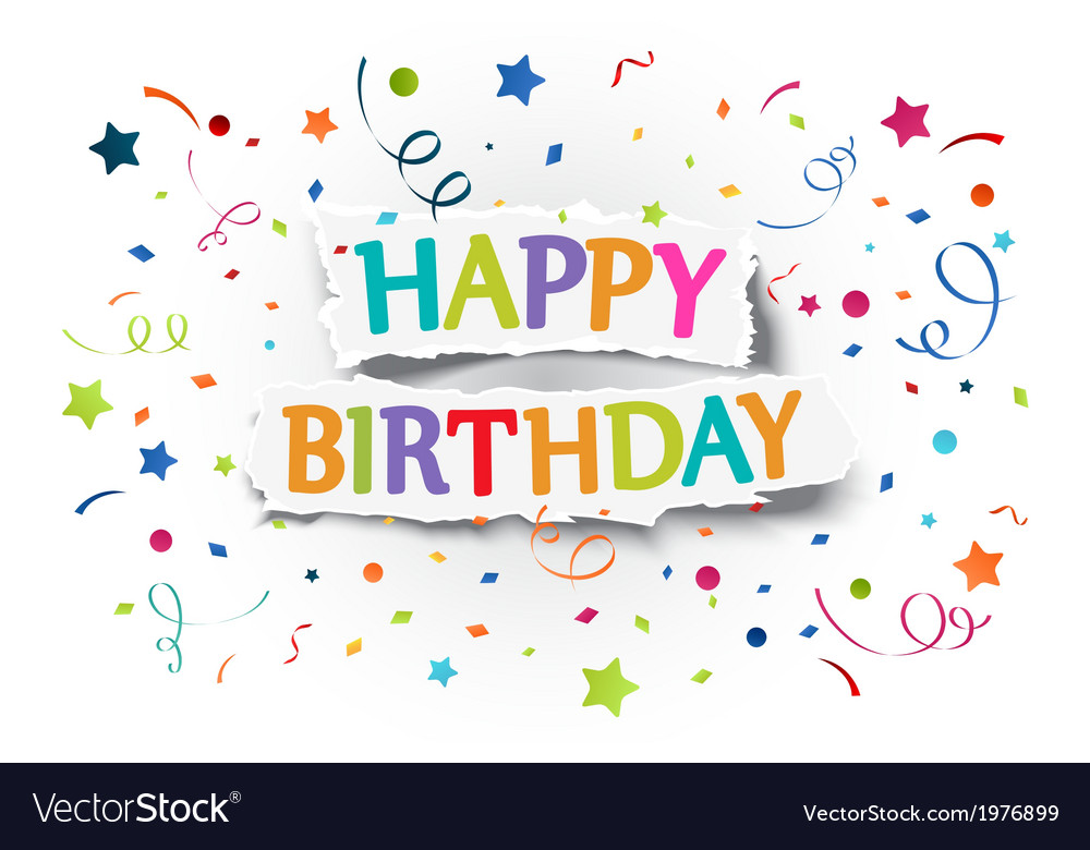 Happy birthday greetings on ripped paper vector | Price: 1 Credit (USD $1)