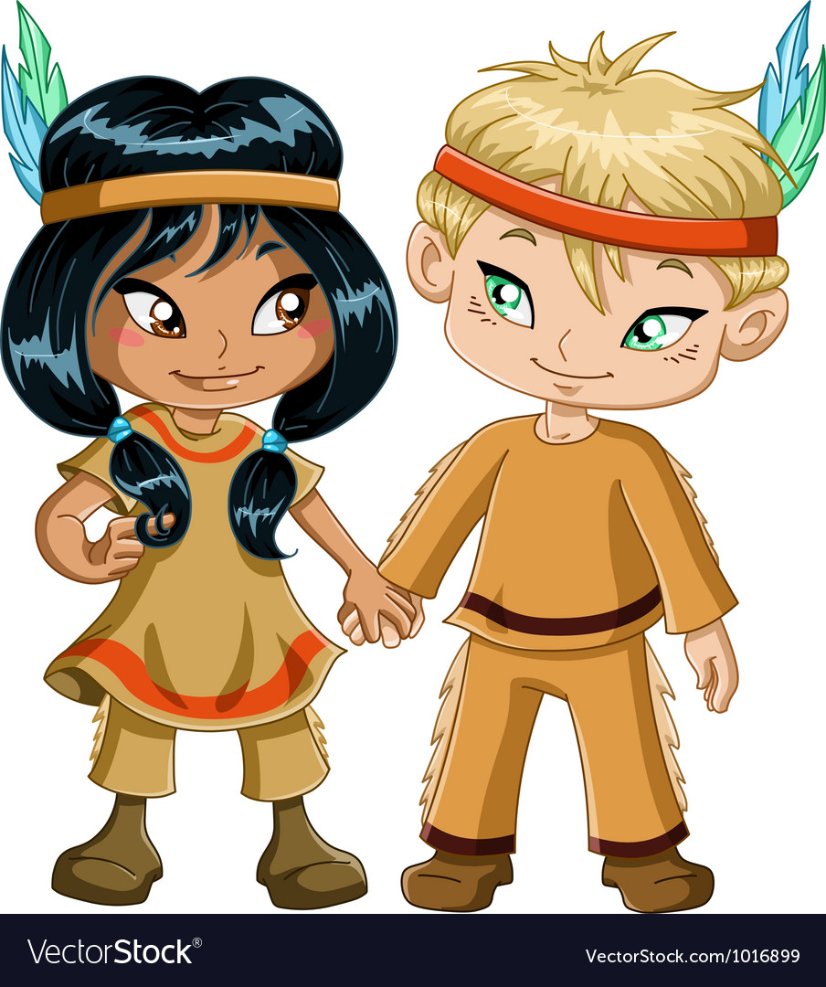 Indian boy and girl holding hands for thanksgiving vector | Price: 3 Credit (USD $3)