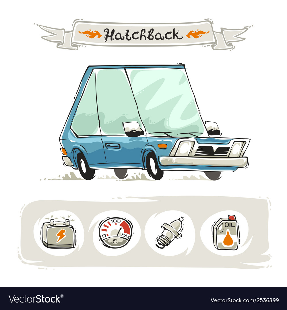 Retro small hatchback set vector | Price: 1 Credit (USD $1)