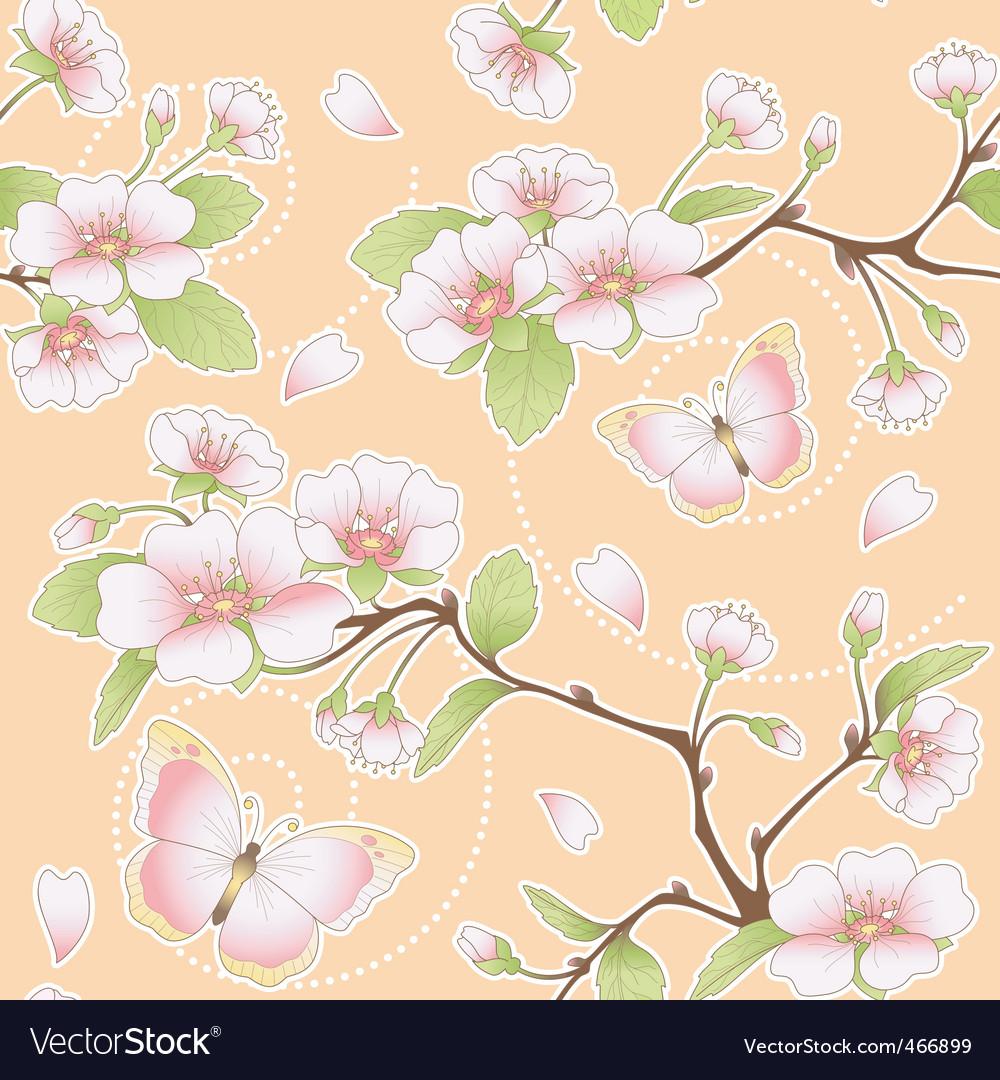 Sakura and butterflies pattern vector | Price: 1 Credit (USD $1)