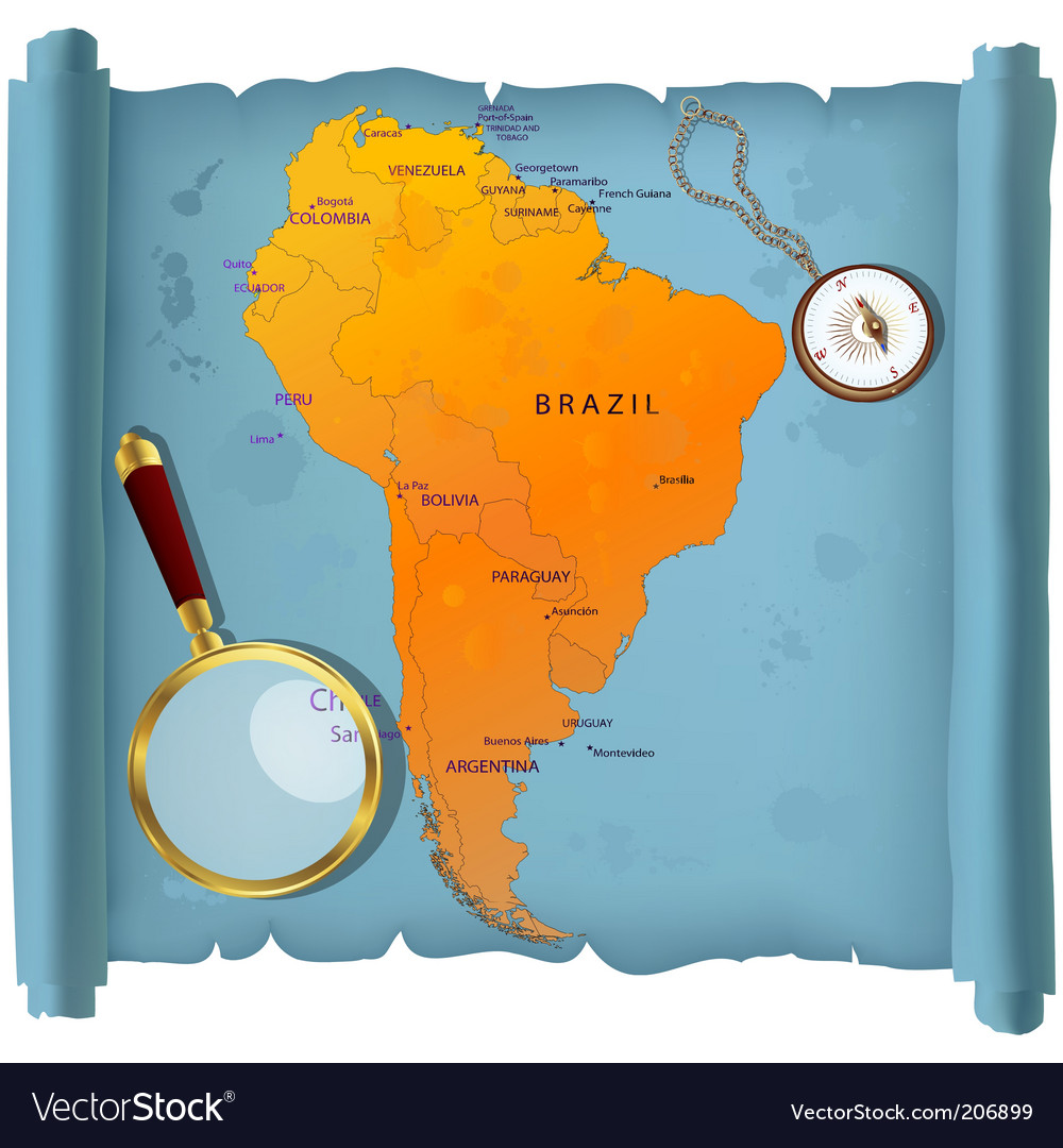 South america map vector | Price: 3 Credit (USD $3)