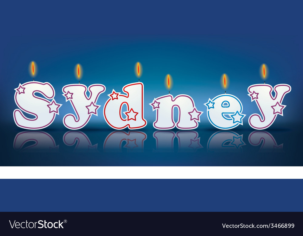 Sydney written with burning candles vector | Price: 1 Credit (USD $1)